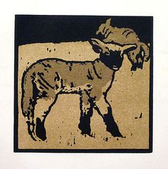 "The Very Tame Lamb, lithograph, from ""The Square Book of Animals"", 1900, by Sir William Nicholson (1872–1949)."