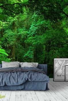 Green jungle Wall mural - Real Time - Diet, Exercise, Fitness, Finance You for Healthy articles ideas Forest Wallpaper, Home Wallpaper, Floor Wallpaper, Forest Mural, Forest Room, Wall Color Combination, Wall Design, House Design, Ceiling Murals