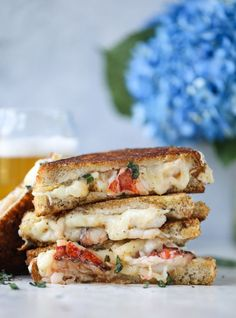 lobster grilled cheese with tarragon garlic butter I howsweeteats.com