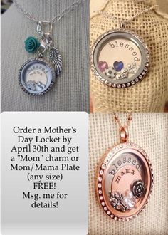 Origami Owl Mothers Day Deal!! Freebie! No coupon needed. Great gift for mom, mother, grandma. https://www.facebook.com/HuntnHoots