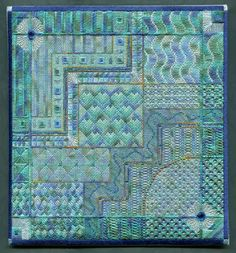One of the best ways I know to stay cool on a hot summer's day is to sit under a ceiling fan and work on a project that has cool blues and g. Bargello Patterns, Bargello Needlepoint, American Quilt, Needlepoint Patterns, Canvas Designs, Splish Splash, Art Of Living, Impressionist, Hand Embroidery