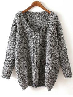 V Neck Chunky Knit Grey Dolman Sweater