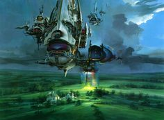 John Berkey is one of the classic painters of the golden era of science fiction. He did some of the original Star Wars posters, but this is for me his best work: Gigantic deep space exploration ships, beautiful white galactic liners, and huge space posts orbiting Earth and other planets—all of them mixing elegant biological shapes with hard edges.