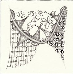 Ein Zentangle aus den Mustern Capell, CalgaRee, Sarphy, Alhambra gezeichnet von Ela Rieger, CZT