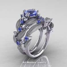Nature Classic 14K White Gold 1.0 Ct Natural Light Blue Sapphire Diamond Leaf and Vine Engagement Ring Wedding Band Set R340SS-14KWGDLBS   ArtMastersJewelry