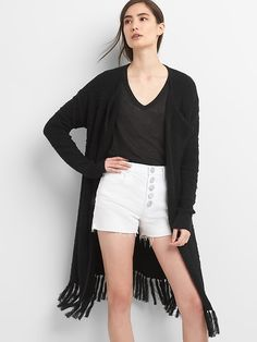 GAP Longline Fringe Open-Front Cardigan Sweater  with high rise button fly denim shorts http://www.gap.com/browse/product.do?pid=272531002&rrec=true&mlink=5050,12413545,gapproduct1_rr_1&clink=12413545