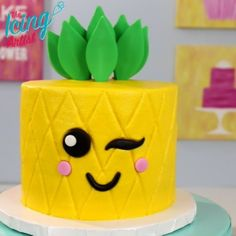 KAWAII inspired Pineapple cake! Full video and recipe on YouTube #kawaii #cake #ideas #birthday #summer #treats #pineapple #adorable #cute #Japanese #icing #buttercream