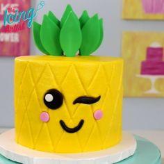 KAWAII inspired Pineapple cake! Full video and recipe on YouTube #kawaii #cake #ideas #birthday #summer #treats #pineapple #adorable #cute #Japanese #icing #buttercream