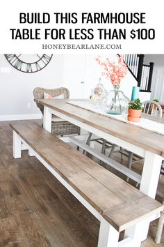 Build this farmhouse table for less than $100. #farmhouse #table #diy #diyhomeproject #diyhomeprojectsideas Diy Home Decor Rustic, Easy Home Decor, Home Decor Trends, Decor Ideas, Decorating Ideas, Diy Ideas, Coastal Decor, Rustic Crafts, Diy House Ideas