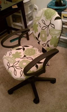 Covered my old desk chair with fabric ends from Walmart!