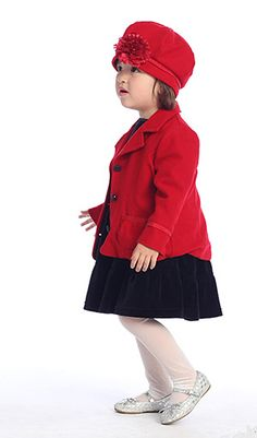 Girls Coat Style RED Classic Wool and Poly Blend Coat with Matching Hat Red Flower Girl Dresses, Girls Dresses, Snow White, Winter Hats, Wool, Classic, Cute, Store, Floral