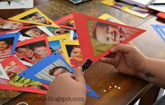 DIY Picture Banners!  A great way to display your kiddos pictures at their 1st birthday party. :)