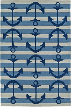 Add a nautical style with a whimsical, happy feel with this Sail the Ocean Blue Area rug with wide stripes of light blue and linen, with a series of royal blue anchors creating the captivating design.