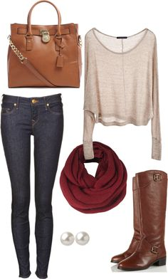 Super cute outfit with burgundy scarf accent! Estilo Fashion, Look Fashion, Fashion Outfits, Womens Fashion, Luxury Fashion, Fall Winter Outfits, Autumn Winter Fashion, Looks Style, Style Me