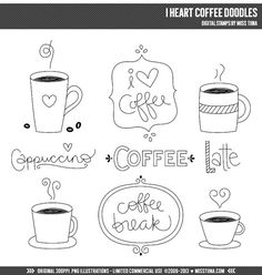 I Heart Coffee Doodles Digital Stamps Clipart Clip Art Illustrations - instant download - limited commercial use ok