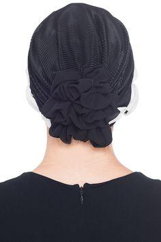 Plissée et perlée Détail Chapellerie pour la perte de cheveux (Noir/Crème): Amazon.fr: Vêtements et accessoires