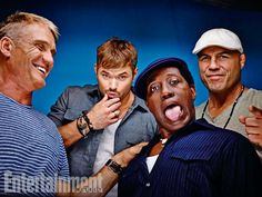 Dolph Lundgren, Kellan Lutz, Wesley Snipes, and Randy Couture, The Expendables 3. See more stunning star portraits from our photo studio at San Diego Comic-Con 2014 here: http://www.ew.com/ew/gallery/0,,20399642_20837117,00.html