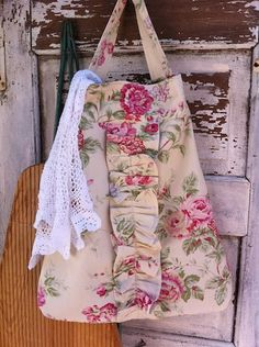 old fabric bag, cute ruffle.