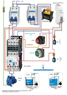 Contactor wiring guide for 3 phase motor with circuit breaker arranque motor bomba monofasica electrical installationelectrical wiringelectrical engineeringelectrical diagramelectronic asfbconference2016 Choice Image