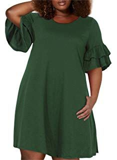 Nemidor Womens Cold Shoulder Plus Size Casual T-Shirt Swing Dress with Pockets