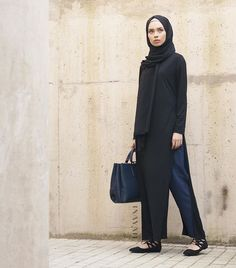 - I love this look!  Long Black Tshirt with Slits Navy Pleated Trousers Black Georgette Hijab  All items are available in multiple colours online.  www.inayahcollection.com