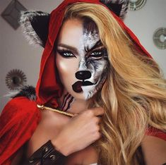 Are you looking for inspiration for your Halloween make-up? Browse around this site for creepy Halloween makeup looks. Halloween Makeup Looks, Scary Halloween, Halloween Halloween, Wolf Halloween Costume, Group Halloween, Toddler Halloween, Wolf Make Up Halloween, Halloween Costumes For Brunettes, Disney Halloween Makeup
