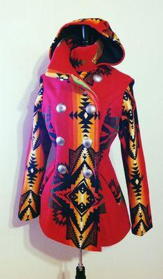 Shayne Watson Designs, Diné FB page: Native American Clothing, Native American Fashion, Pendleton Clothing, Beautiful Outfits, Cute Outfits, Native Wears, Cowgirl Style, Western Style, Pendleton Jacket