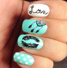 Feather nail designs will look very pretty and unique for girls. It is being a best way to make a statement with your nails. Feather Nail Designs, Feather Nail Art, Simple Nail Art Designs, Cute Nail Designs, Cute Nail Art, Easy Nail Art, Cute Nails, Pretty Nails, Dream Catcher Nails