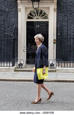 Newly appointed Prime Minister Theresa May makes her first speech outside 10 Downing Street. (Stock Photo)  Contributor: Vickie Flores / Alamy www.alamy.com http://www.alamy.com/stock-photo-london-uk-13th-july-2016-prime-minister-theresa-may-arrives-to-make-111449907.html