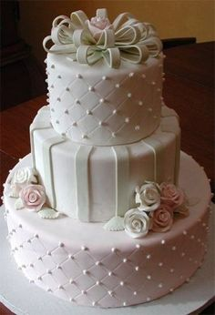 White, Pink and Green Cake with Flowers and Dots