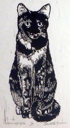 The Roundest Eyes Linoleum Block Print.  via Etsy.