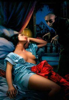 Artwork: Nosferatum by fantasy artist Arantza Sestayo. See more artwork by this featured artist on the fantasy gallery website. Vampire Kiss, Vampire Art, Gothic Horror, Horror Art, Real Horror, Horror Movie Posters, Horror Movies, Cult Movies, The Frankenstein