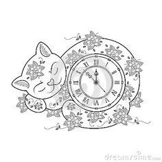 Cat clock coloring page. Thin line coloring book. Vector illustration for kids and adult. Hand drawn zen tangle transparent illustration page of cat. Isolated on white background.