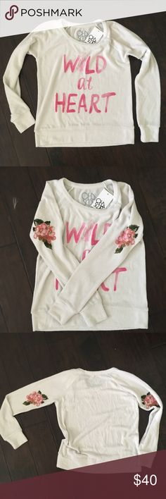 Chaser Wild at Heart Pullover Sweatshirt Small NWT! Cleaning out my long sleeve drawer and never wore this. It's super cute. Has that pilly material like the Wildfox brand. Was really pricey. Slightly off white. Chaser Tops Sweatshirts & Hoodies