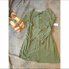 Olive green thigh length dress Super cute urban olive green dress. NEVER WORN. perfect condition. Charlotte Russe Dresses Midi