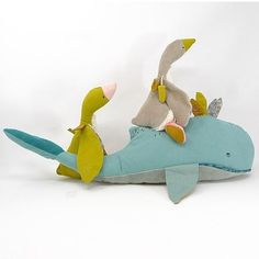 Moulin Roty Le Voyage d'Olga Josephine the Whale – My Sweet Muffin Teal Yellow, Mother Goose, Young Family, Blue Whale, Little Ones, Nursery Decor, Hug, Dinosaur Stuffed Animal, Cushions