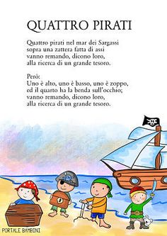 Stampatela su Portale Bambini! #canzoni #poesia #pirati #songs #rhymes Activities For Kids, Crafts For Kids, Pirate Kids, Canti, Baby Play, Primary School, Kids Learning, Pixel Art, Songs