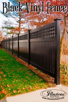 New Fence Ideas. Black PVC Vinyl Semi-Privacy Fence From Illusions Vinyl Fence Adds Amazing Character to Your Landscaping. New Fence Ideas. Black PVC Vinyl Semi-Privacy Fence From Illusions Vinyl Fence Adds Amazing Character to Your Landscaping. Pool Fence, Backyard Fences, Garden Fencing, Fenced In Yard, Backyard Landscaping, Fenced In Backyard Ideas, Privacy Fence Landscaping, Outdoor Fencing, Home Fencing
