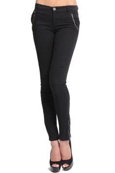 TheMogan Ankle Zip Twill Slant Pocket Skinny Jeans