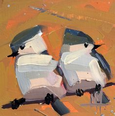 Tufted Titmice no. 8 original bird oil painting by prattcreekart