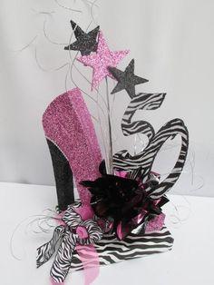 High heel shoe birthday centerpiece, on zebra base, 50 & stars