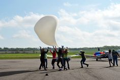 Extremely high winds made for a very difficult launch. The balloon is shown here seriously Weather Balloon, The Balloon, Balloons, Globes, Balloon, Hot Air Balloons