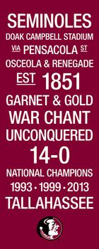 Florida State Seminoles National Championship Subway Art with Logo Picture at Florida State Photo Store Florida State Football, Florida State University, Florida State Seminoles, College Football, Bobby Bowden, Photo Store, Football Program, Picture Logo, National Championship