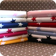 Star Fabric 1 METRE 20mm White Star 100% Cotton - Pink, Blue, Red, Black Yellow. | eBay