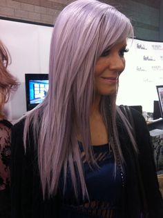 Violet hair... might have to try this before I go gray.  Just a few streaks and not the whole head.