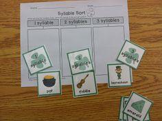 St. Patrick's Day Literacy Center Fun-syllable sort