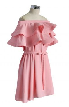 Darling Ruffled Off-shoulder Dress in Candy Pink - Retro, Indie and Unique Fashion