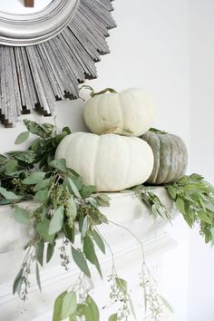 Fall Home Tour - Crazy Wonderful, simple neutral fall decor ideas, fall mantle, white pumpkins, seeded eucalyptus