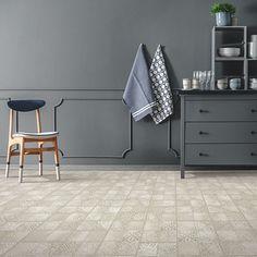 Grey, light tile-look flooring. Pergo Extreme Tile in Dew Drop