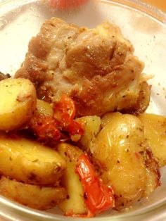 Baked Chicken Thigh Steaks with baby potatoes & tomatoes in lemons grass and Italian Herbs. Baby Potatoes, Chicken Thighs, Steaks, Lemon Grass, Baked Chicken, Tomatoes, Herbs, Meat, Baking